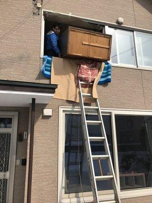 2階窓から家財の搬出をおこないましたの施工後