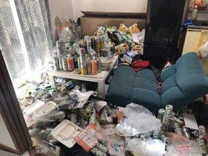 缶やゴミが散らかった汚部屋の遺品整理の施工前