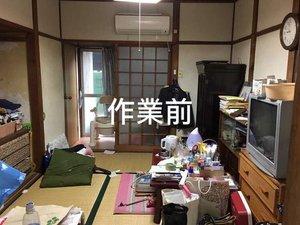 たくさんの本が残ったお部屋での作業の施工前