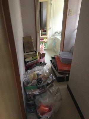 岡山市北区下伊福の事例4:風呂浴室から洗面所の施工前