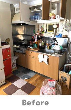 【3DK】キッチンなどの水回りも綺麗にいたします。:250,000円の施工前