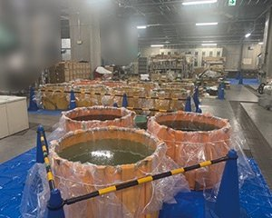 病院内廃液移設作業の施工前