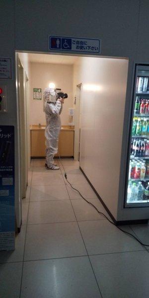 コンビニでのコロナ除菌の施工後