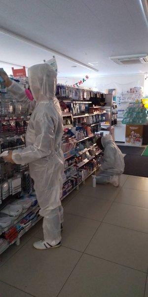 コンビニでのコロナ除菌の施工前