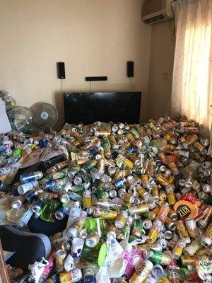 2tに及ぶ空き缶の山の施工前